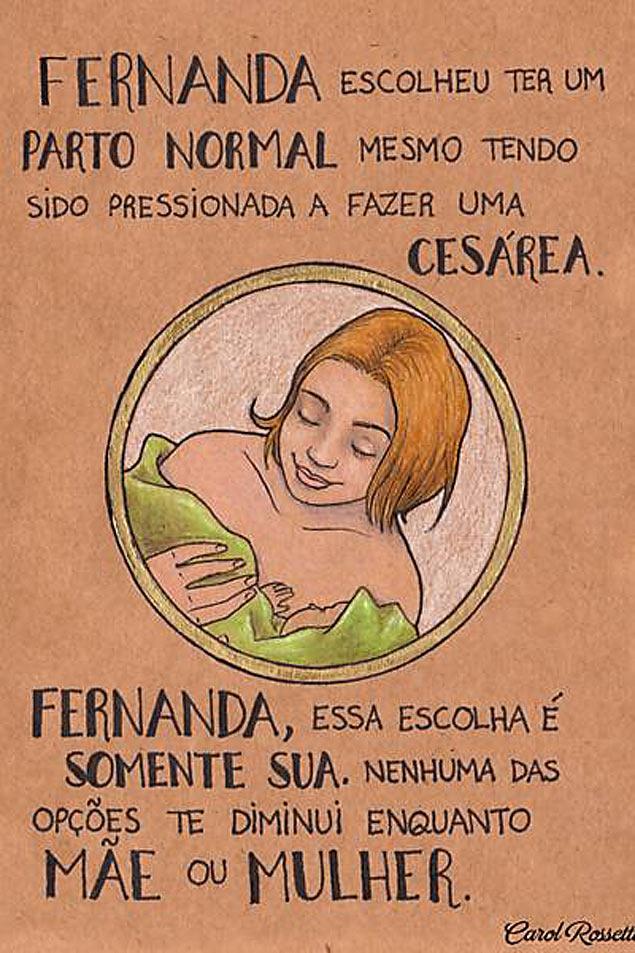 Ilustração mostra que as mulheres é quem devem escolher como filho virá ao mundo (Carol Rossetti)