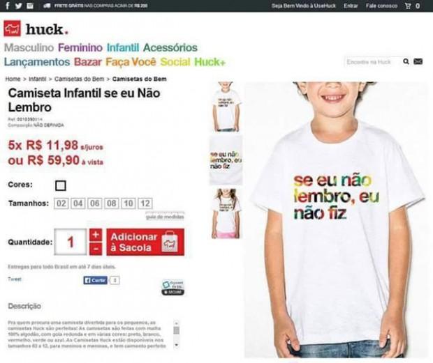 Internautas criticaram mensagens de outras camisetas infantis que estavam à venda no site (Crédito: Reprodução)
