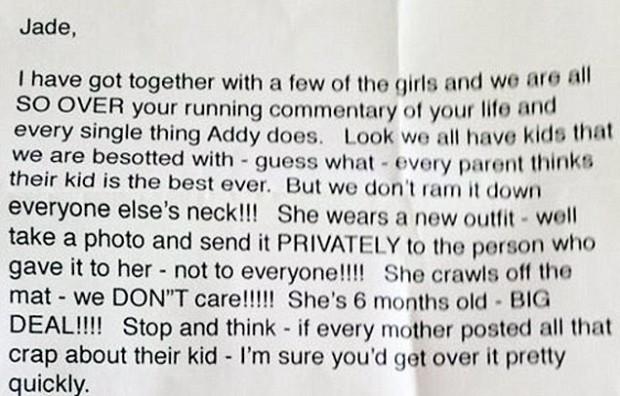 Jade recebeu carta anônima pedindo para parar de encher o saco com suas postagens (Reprodução)