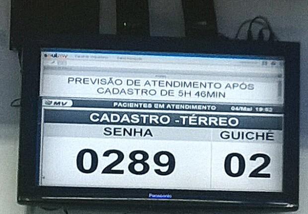 Monitor mostra tempo de espera no Sabará (Arquivo Pessoal)
