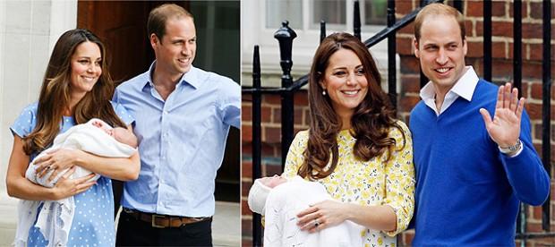 Kate na saída da maternidade do primeiro filho, em 2013 (à esq.), e na alta da segunda, no sábado (Fotos: Associated Press)