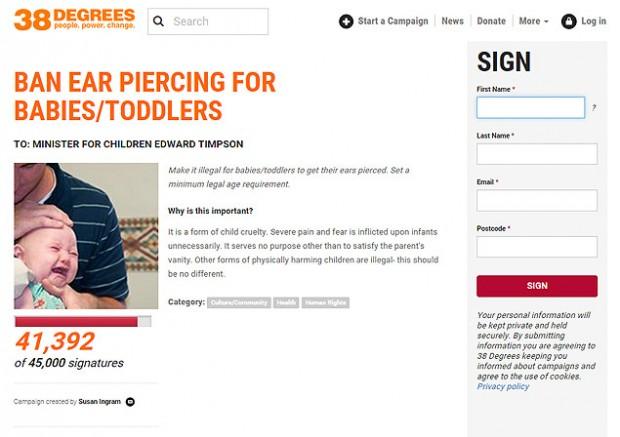 Petição quer tornar ilegal furar orelha de bebês (Reprodução)