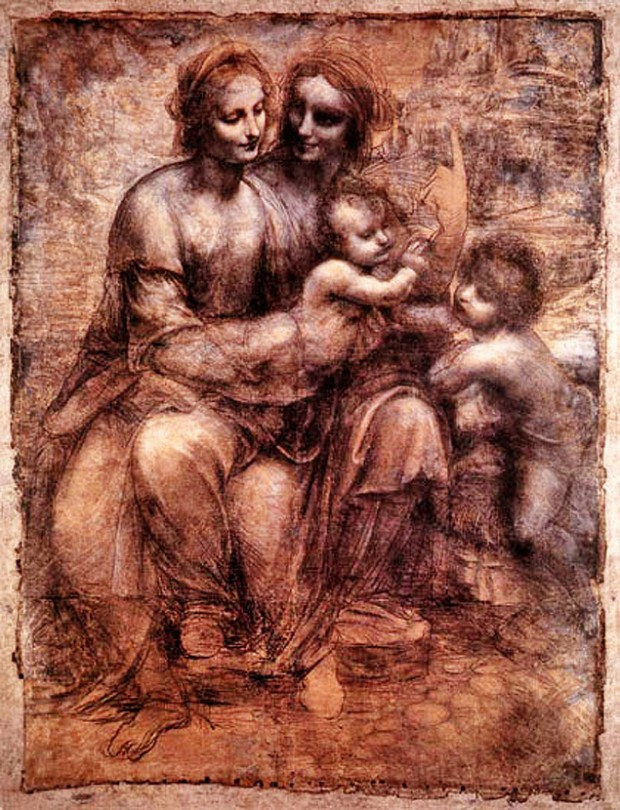 """""""A obra do Leonardo da Vinci mostra tipicamente a alegria materna da Virgem Maria e da avó materna (ao lado olhando para a filha) com o menino (Jesus no caso). Ele apesar de bebe faz um gesto parecido com uma benção para outra criança"""", diz Faisal (Madonna and Child with St Anne and St John (1499)  Leonardo da Vinci - National Gallery -Londres/Reprodução)"""