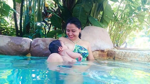 Edilaine ouviu mulher dizer ao filho que  mamar no peito era 'cocô' (Arquivo Pessoal)