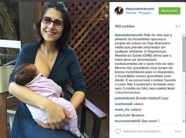 Deputada Manuela D'Ávila comemora aprovação de projeto (Reprodução/Instagram/Manuela D'Ávila)