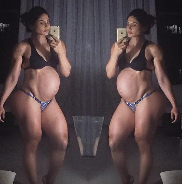 A 6 dias do parto, Gabriela Zugliani exige barrida (Reprodução/Instagram/Gabriela Zugliani)